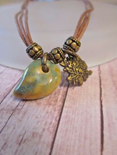 Leaves and Petals Anituqed Brass and Glazed Ceramic by SimplyMim, $18.00