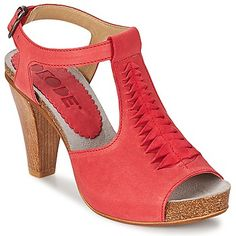 ON SALE red leather open toe heels for summer by Dkode @spartoouk