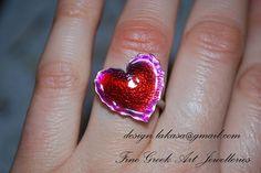Χειροποίητο δαχτυλίδι σμάλτο καρδιά ασημένιο 925 επιπλατινωμένο