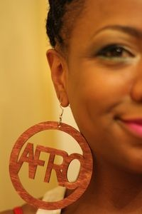 Image of AFRO DISC EARRINGS - Wood