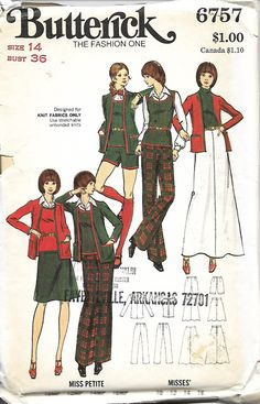 Butterick 6757 Misses Knt Cardigan Jacket, Flip Skirt, Pants, Shorts And Sweater Top Sewing Pattern, Size 14, Bust 36, UNCUT by DawnsDesignBoutique on Etsy