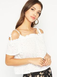 White Broderie Bardot Top as part of an outfit