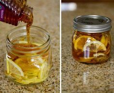 Lemon, Honey & Ginger Sore Throat Syrup  There isn't an exact recipe. Just thinly slice lemons in your glass jar until full, loosely packed. If you use a 1/2 pint jar, like shown, I would use 1″ of ginger sliced, or if you use a full pint I would use 2″ sliced. Then, just fill with raw local honey and put in the refrigerator. You can adjust the ginger based on how well you handle the heat.
