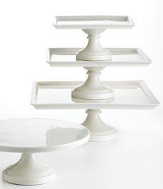 White cake stands by Martha Stewart