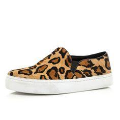 Brown leopard pony hair slip on sneakers - plimsolls / sneakers - shoes / boots - women