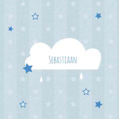 Rouwkaartje wolkje met sterren jongen