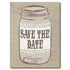 Burlap Lace Mason Jar Save the Date Post Cards