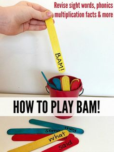 Learning Games for Kids: How to Play BAM! A great game for revising sight words, phonics, multiplication tables and more! Perfect for home and school.