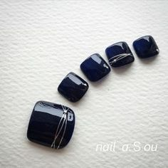 Nail design image 1526808 Navy silver one color sum simple border office dating all season summer soft gel foot short Pedicure Designs, Pedicure Nail Art, Toe Nail Designs, Toe Nail Art, Black Pedicure, Pretty Toe Nails, Cute Toe Nails, Love Nails, Feet Nail Design
