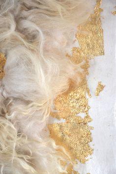 felted felt raw wool wall hanging wall art wall panel rug bed runner carpet sheep fleece gold leaf no animal harmed