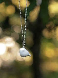 White Tiny Bird Necklace. Abstract Design Porcelain by Rajanto