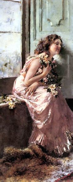 Italian Painter:  Vincenzo Irolli  (1860 – 1949),  'Reverie'