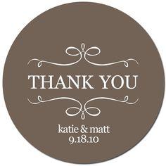 Set of Custom Wedding Stickers  - A VINTAGE THANK YOU. $32.50, via Etsy.