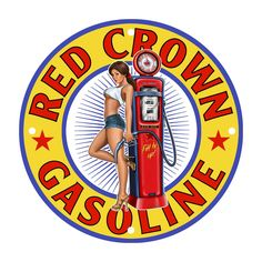 Red Crown Gas Pump Pinup Girl Metal Sign USA Made Auto Car Gas Oil Hot Rod Garage Art Wall Decor LS272 by HomeDecorGarageArt on Etsy