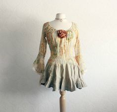 Romantic Top Bohemian Blouse Golden Tan Upcycled Clothing Women's Shirt Retro Clothes Beige Tunic Eco Fashion Medium 'TUSCANY'