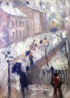Edward Munch - Street in winter 1885 huile sur toile private collection Dark Paintings, Great Paintings, Nature Paintings, Van Gogh, Edward Munch, Amedeo Modigliani, Winter Painting, Paul Gauguin, Kandinsky