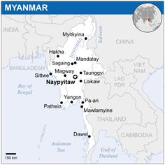Detailed large political map of Myanmar showing names of capital