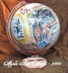 Alice in Wonderland Altered Globe. $55.00, via Etsy.
