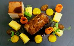 Fillet of Pork, Squash Puree, Potato Gnocchi, Chilli Mango Chutney, Carrot Ribbons & Red Wine Jus.