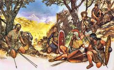 Guerreros íberos preparando una emboscada, se puede ver con caetra y jabalinas, con scutum y lanzas, otro con escudo redondo y soliferrum, al fondo un jinete con su caballo tumbado. Autor Angus McBride para Osprey