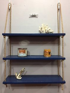 Nautical or 1 Tier Rope Shelf Nautical Bathroom Design Ideas, Beach Theme Bathroom, Nautical Bathrooms, Beach Bathrooms, Nautical Design, Bathroom Kids, Bathroom Shelves Over Toilet, Boat Cleats, Small Space Storage