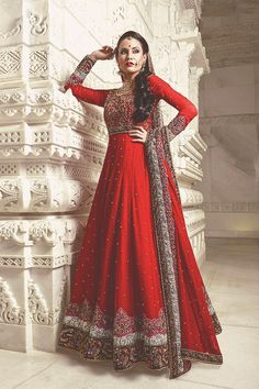 Red Floor Length Anarkali by Gul Style