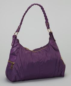 Take a look at this Eggplant Gold Zip Faux Snakeskin Hobo by Tiffany & Fred on #zulily today!