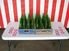 Ring toss, any old bottles (I like the colored glass ones best). Plastic kids bracelets can be used for the rings. Carnival Party Games, Carnival Birthday Parties, Circus Birthday, Carnival Ideas, Circus Theme, Birthday Ideas, Carnival Baby Showers, Wild West Party, Ring Toss