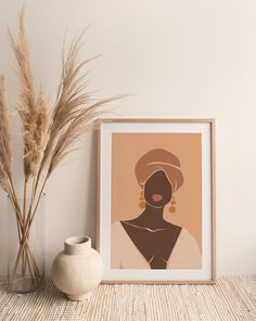 Female Portrait, Female Art, Black Art Painting, Body Painting, Abstract Geometric Art, Woman Illustration, Printable Wall Art, Melanin Skin, Poster