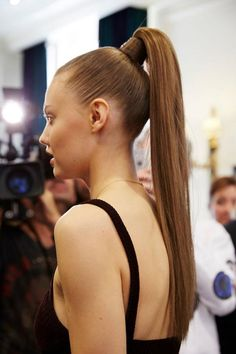 The long, sleek, and totally straight ponytails seen at the Balmain spring 2016 were super sexy. Click for more hair inspiration just like this.
