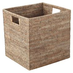 Deep Rattan Storage Basket, Square