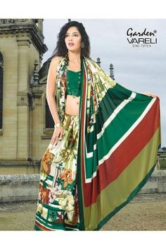 Buy Fashion Flora #Green #Crepe Saree with Mega Florals Online at Rs.1,211/-