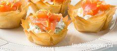Leuke recept voor frisse hapjes van filodeeg gevulde met ricotta en zalm