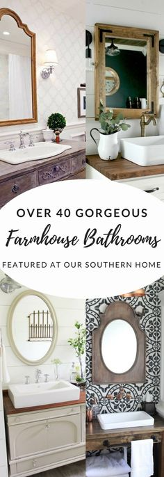 Over 40 gorgeous farmhouse bathroom ideas from the simple makeover to full remodel. There is a little something for every budget. Country Farmhouse Decor, French Country Decorating, Farmhouse Style, Country French, Country Kitchen, Country Living, Country Style, Amish Country, French Farmhouse