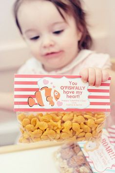 Valentine's Day Treat Bag Tags..made this for v-day treats for the kids in my son's class. so cute and great alternative to just usual candy! I just bought the individual mini size store bought goldfish bags and stapled tags to top! Easier!!