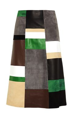 Patchwork Leather and Suede Skirt by Derek Lam Now Available on Moda Operandi