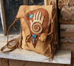 "BANDELIER deerskin LEATHER PURSE 2 Pocket with deer antler, Turquoise, antique beads 8"" X 9.5"" cross shoulder"