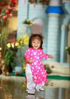 Baby Vietnamese ao dai. Aubrey looks so cute in hers!