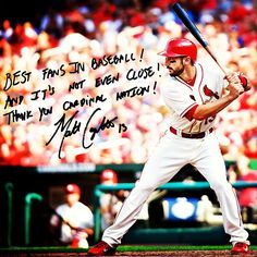 """Best fans in baseball! And it's not even close! Thank you Cardinal Nation!"" - Matt Carpenter"