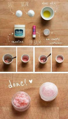 Before you apply lipstick, exfoliate your lips with this easy DIY scrub. See link for more MakeUp Tips!! #BeautyTipsInHindi Diy Lip Scrub, Homemade Scrub, Bath Scrub, Homemade Facials, Homemade Lip Scrubs, Lip Scrub Lush, Vaseline Lip, Vaseline Uses For Face, Makeup Products