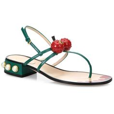 79fdce425f6d Gucci Hatsumomo Cherry Leather Thong Sandals ( 990) ❤ liked on Polyvore  featuring shoes