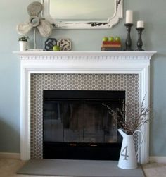 Fake fireplace with glass cover