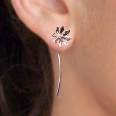 925 Wild flower long stem - sterling silver earrings studs - unique, Jewelry gift for girlfriend 102412