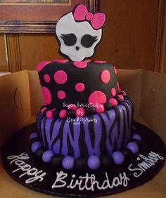 "Topsy Turvy Monster High - 6"" & 8"" Topsy Turvy Monster High ~ Strawberry cake, iced in fondant w/fondant decorations. TFL!"