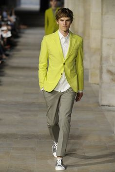 Hermès Men's RTW Spring 2013  A fun sports jacket and what looks to be a great white shirt. Just that combo will work with almost any kind of trouser or jean.