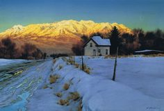 This painting shows a majestic winter view of Mt.Timpanogas from Center Street in Orem, Utah.