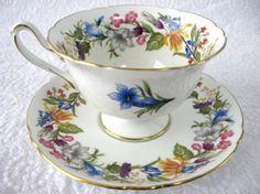 Shelley Cup And Saucer Spring Bouquet Gainsborough Shape Elegant
