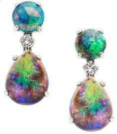Opal, Diamond, White Gold Earrings