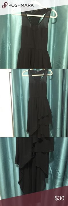 Black Racerback Elegant sheer Flowy Dress Beautiful Black Dress (Size M) Feel free to make and offer & Thanks for looking! Dresses Asymmetrical