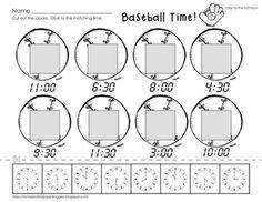 Cut, Do & Glue- Baseball Math- telling time